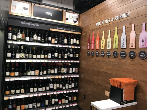 The wine section inside the Amazon Go store in Seattle. Jason Del Rey