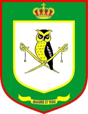 """Logo van de ADIV. Quaero et Tego; """"ik onderzoek en ik bescherm"""""""
